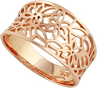 Sterling Silver Victorian Leaf Filigree Vintage Style Ring (Color Options, Sizes 3-15)