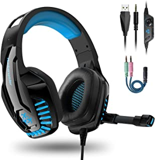 Auriculares Gaming PS4,Cascos Gaming con Micrófono de Mac Estéreo Cascos Gaming con 3.5mm Jack Luz LED Bajo Ruido Auriculares Gaming Compatible con PS4/PC/Mac/Xbox One/Nintendo Switch