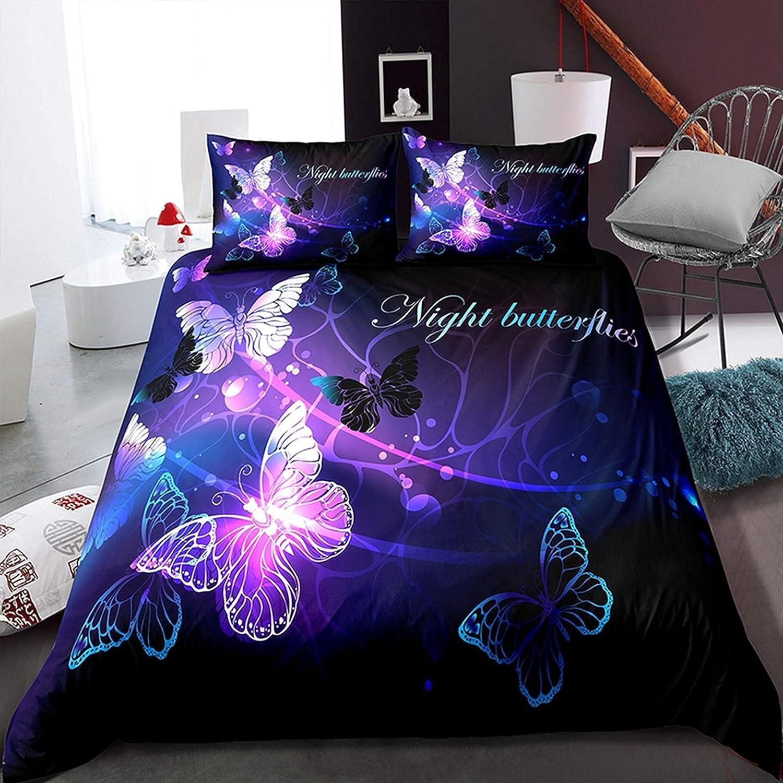 Denver Mall Purple Butterfly Bedding Set Children Duvet Financial sales sale Size Queen Cover 3D