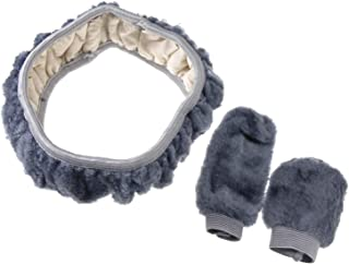Wolle ENET Universal-Lenkradbezug warm 38 cm Pl/üsch Winter Grau weich 3 St/ück Handbremse Schalthebelh/ülle warm