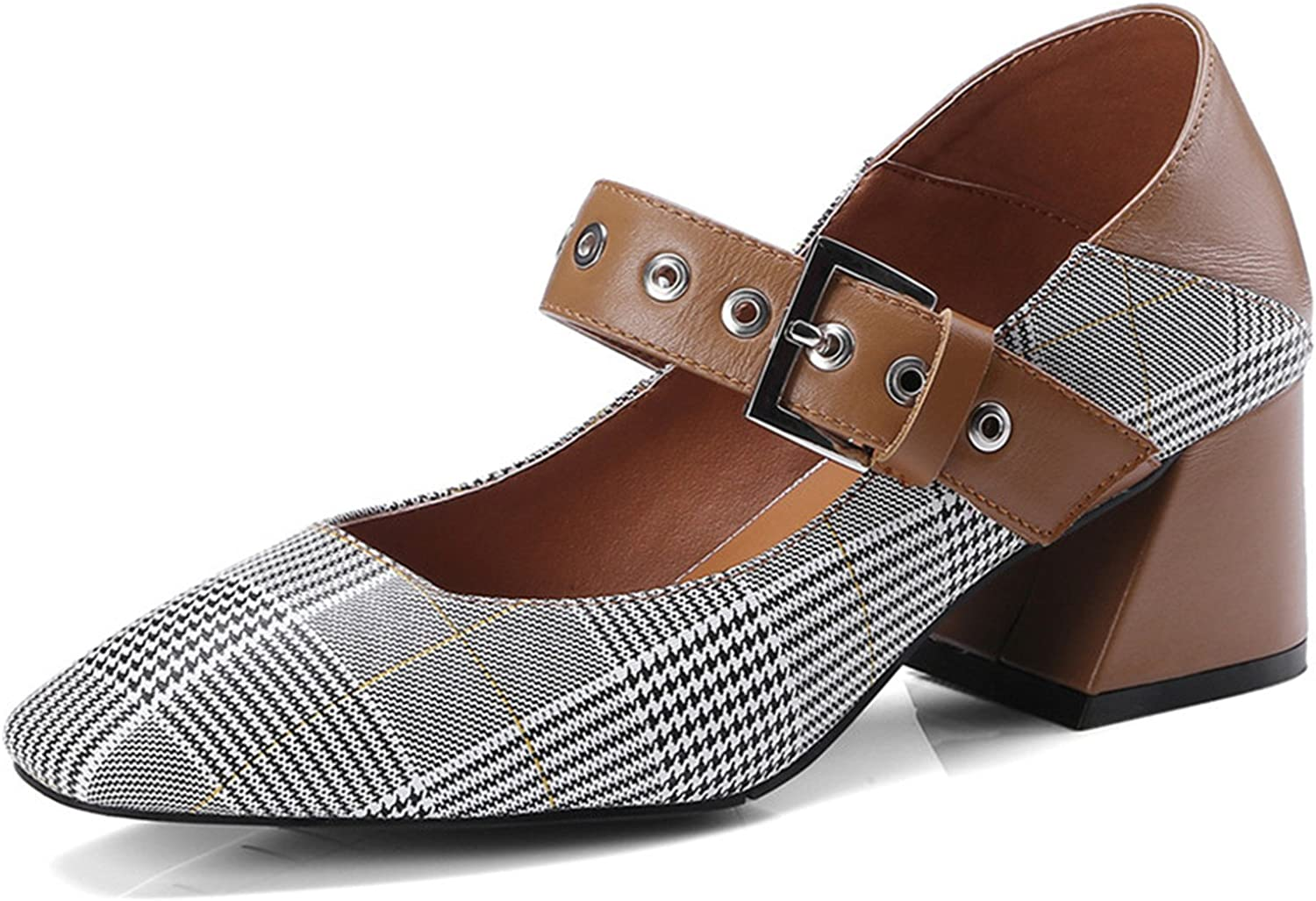 Gome-z Fashion Plaid Fabric+Mary Janes shoes Thick High Heeled Women Pumps Buckled 43 Woman Pumps Mary Janes