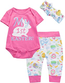 a3105536f 3Pcs Baby Girls Outfit My First Easter Bunny Tops Pant Clothing Set