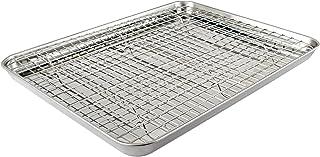 HOMVIDA Bakeware Sets Rimmed Baking Sheet/Pan with Grid Rack Stainless Steel for Oven Warp Resistant (1 Tray+1 Rack)