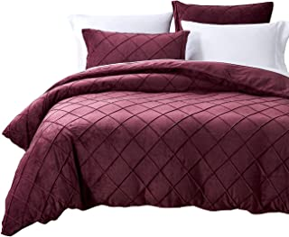 PHF Crystal Velvet Duvet Cover Set - Pinch Pleated Pintuck Bedding with Home Decor Ruffle Soft Warm Luxury Heavyweight for Winter(Queen, Violet Red)