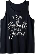 Cute Christian Sports Gift I Run on Softball and Jesus Tank Top