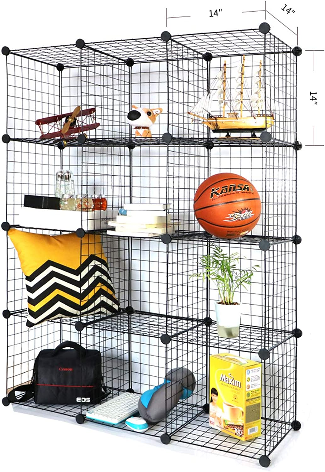 BRIAN & DANY Metal Wire Storage Cubes, DIY 12-Cube Closet Cabinet and Modular Shelving Grids, Wire Mesh Shelves and Rack, Black