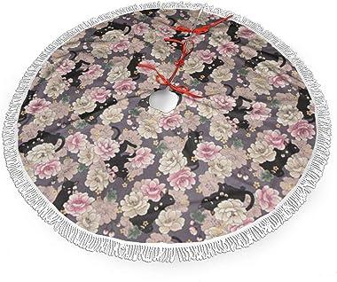 rouxf Jupe de sapin de Noël, décoration de sapin de Noël avec motif de chat et fleurs - 91,4 cm