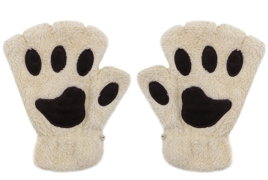 Women Girl Fingless Gloves Cute Plush Bear Claw Cat Paw Soft Winter Warm Mittens