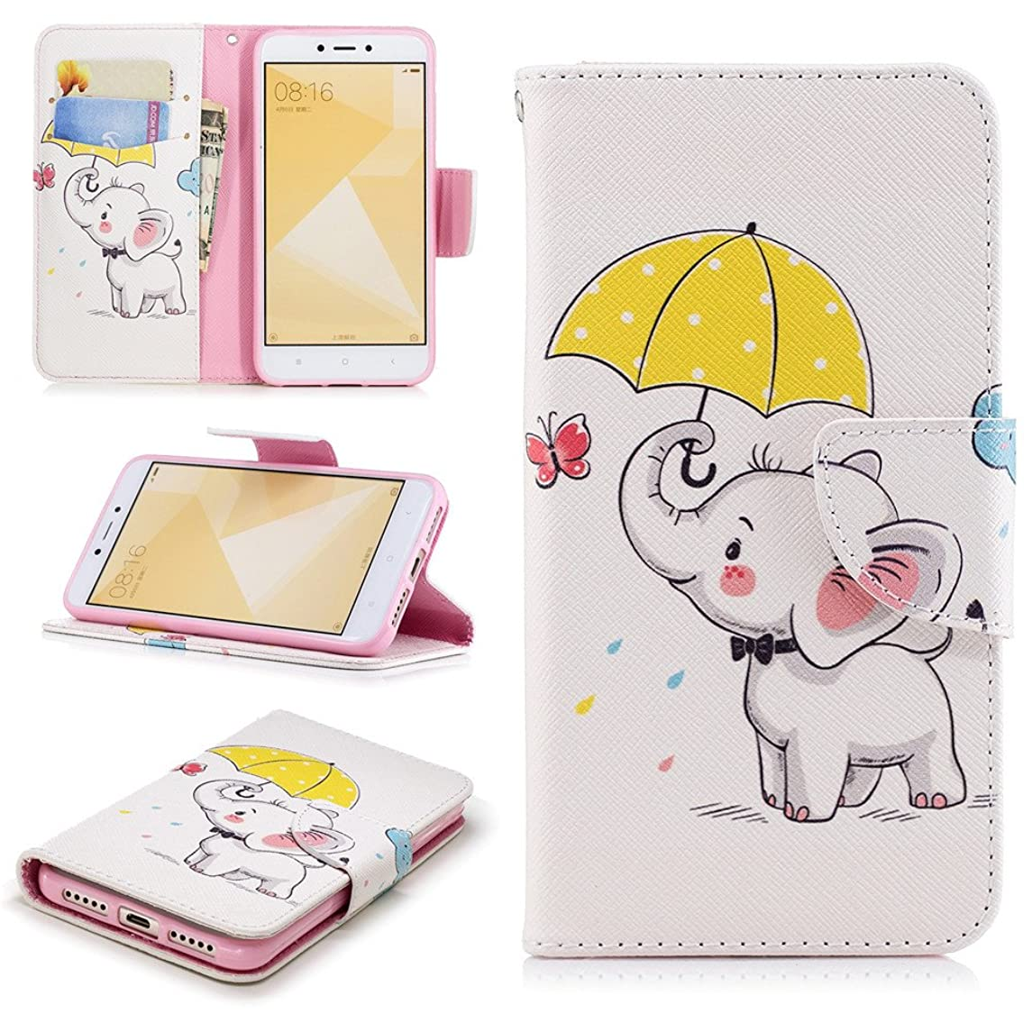 Ooboom Huawei Y7 2019 Case Magnetic Flip Folio PU Faux Leather Wallet Cover Purse Stand with Credit Card Slots Cash Holder Packet for Huawei Y7 2019 - Umbrella Elephant