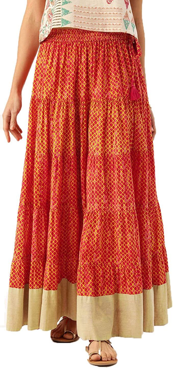 Pure Cotton Women Maxi Skirt Rust Orange and Mustard Yellow Dyed Tiered Flared