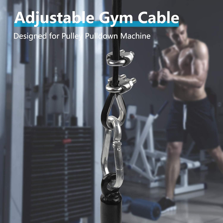 LFJ C/âble de Gymnastique Corde Fil dacier de Remise en Forme DIY LAT Home Gym Poulie C/âble Machine Musculation Cable