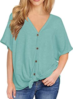 Womens Loose Henley Blouse Bat Wing Short Sleeve Button Down T Shirts Tie Front Knot Tops