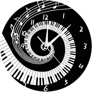 Elegant Piano Keys Black and White Modern Wall Clock, Music Notes Wave Round Pianist Gift, for Office, Living Room, Bedroom