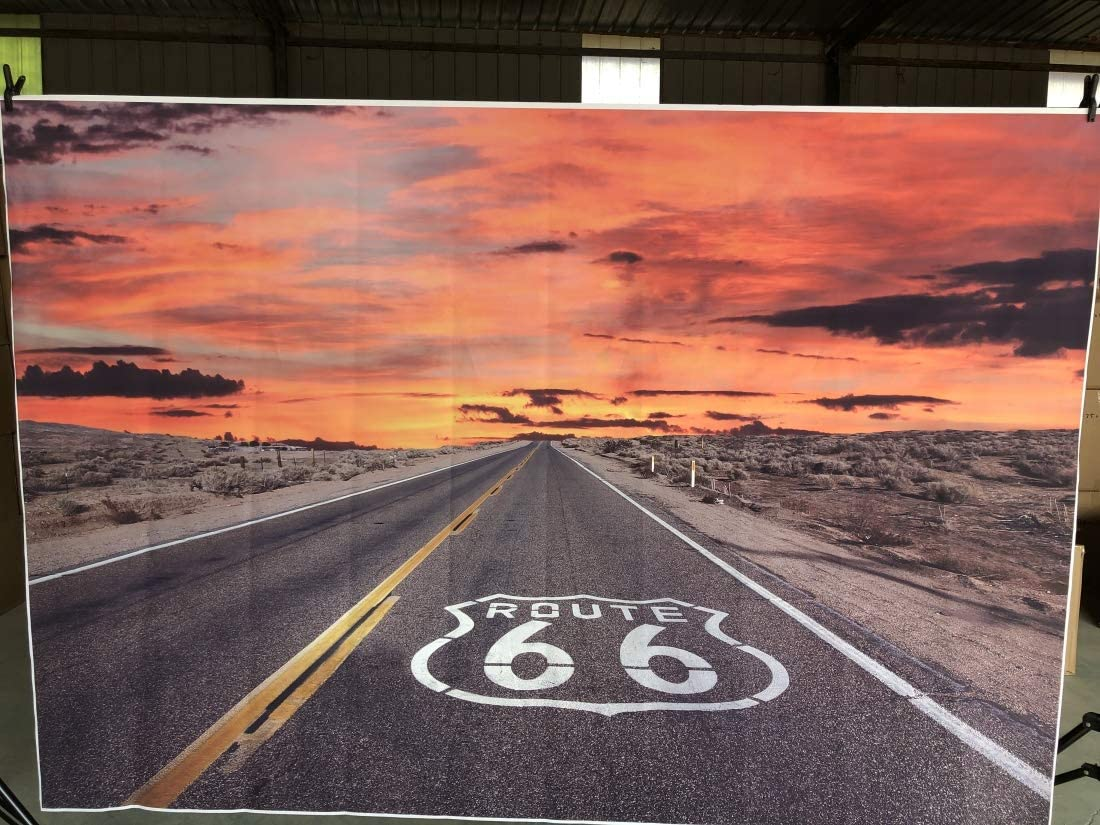 Leowefowa Vinyl 9X6FT Historic US Route 66 in The State of Arizona Highway Sunrise Sky Road Landscpe Backdrop Photography Background Kids Adults Photo Studio Props