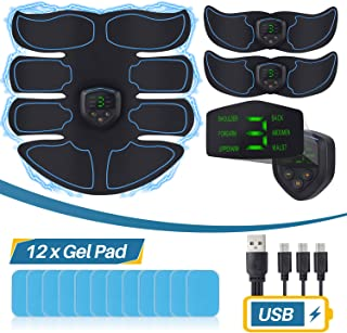Smart Abs Stimulator EMS Muscle Trainer with 12pcs Extra Gel Pad - LCD Display, USB Rechargeable Flex Belts Fitness Equipment for Women Men Abdominal, Arm and Leg Work Out, Office, Home Gym Gear