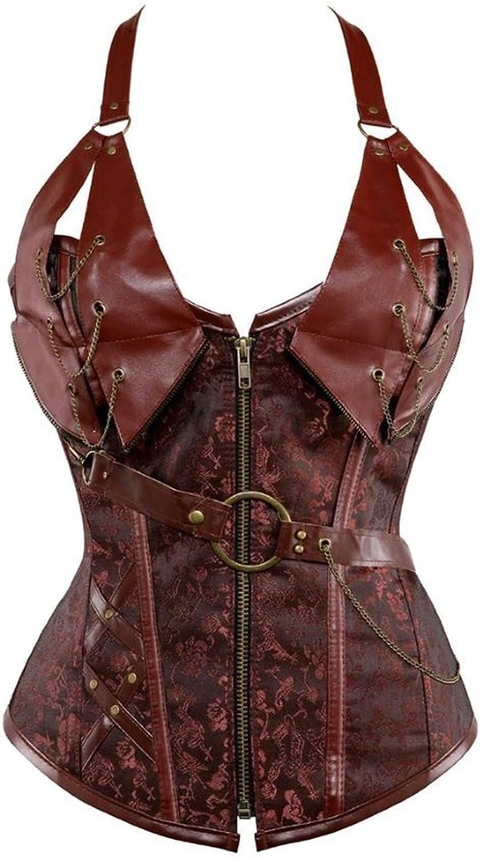 YCRCTC Women Steampunk Faux shipfree Leather Burlesque Chains Direct sale of manufacturer Zipp Corset