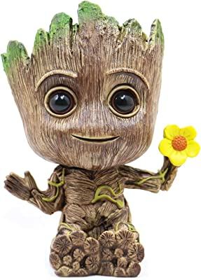 Diougens Lee Baby Groot Planter Pot, Cute Model Toy, Holding a Flower Model Green Plants Flower Pot with Hole Pen Holder, Perfect a Gift, 5.5in