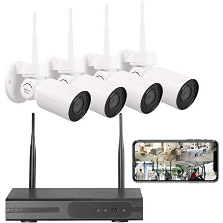 Visortech Überwachungsset Funk Überwachungssystem Mit Hdd Rekorder 4 Pt Kameras App H 265 Kamera Set Baumarkt