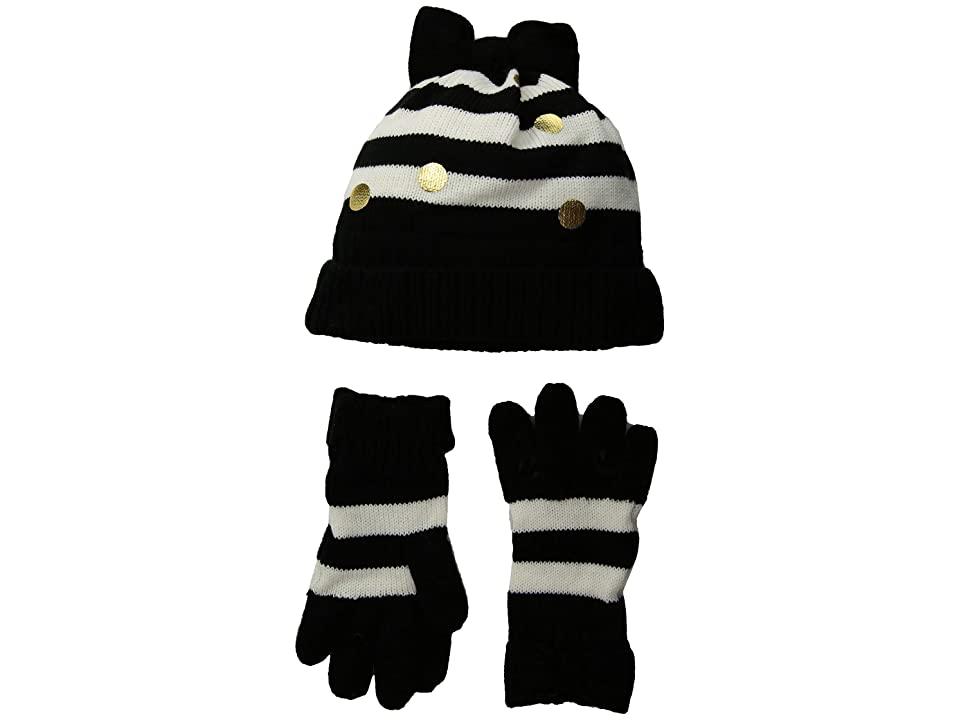 Kate Spade New York Kids Bow Hat and Gloves Set (Big Kids) (French Cream/Black Stripe) Cold Weather Hats