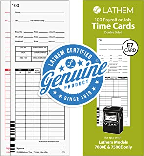 Lathem Universal Payroll/Job Time Cards, Double-Sided, For Lathem 7000E / 7500E Time Clocks, 100 Pack, E79-100