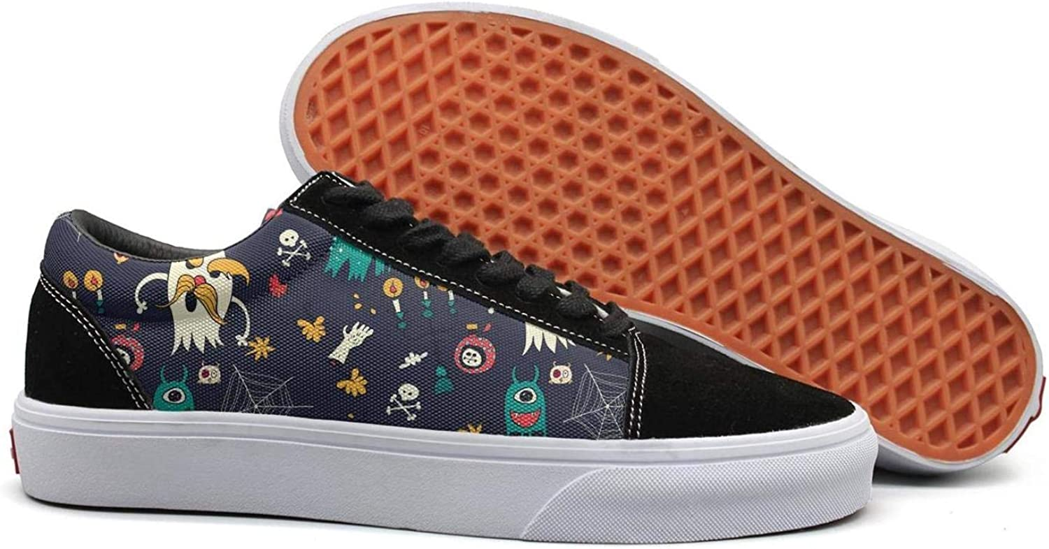 Wuixkas Cute Halloween Ghost Womens Canvas Upper Sneakers Lace up Climbing Fashion Loafer Canvas shoes