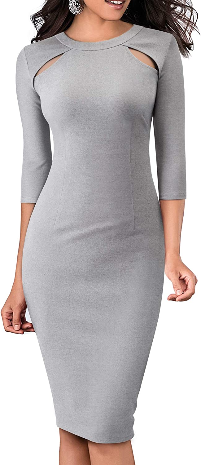 HOMEYEE Women Vintage Hollow Out Round Neck Business Work Dress B488