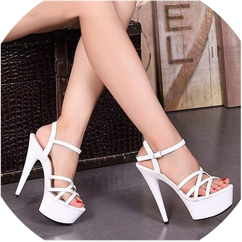 Brand Crossdresser Pumps Summer Sexy 15 cm Thin Heels-Ankle Strap Woman Sandals shoes
