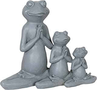 Exhart Three Meditating Yoga Frogs in a Lotus Position Garden Statue - Yoga Frogs Resin Statue in Meditation Pose - Handcrafted Resin Frog Decor - Best as Indoor and Outdoor Ornament, 11 x 9 Inches