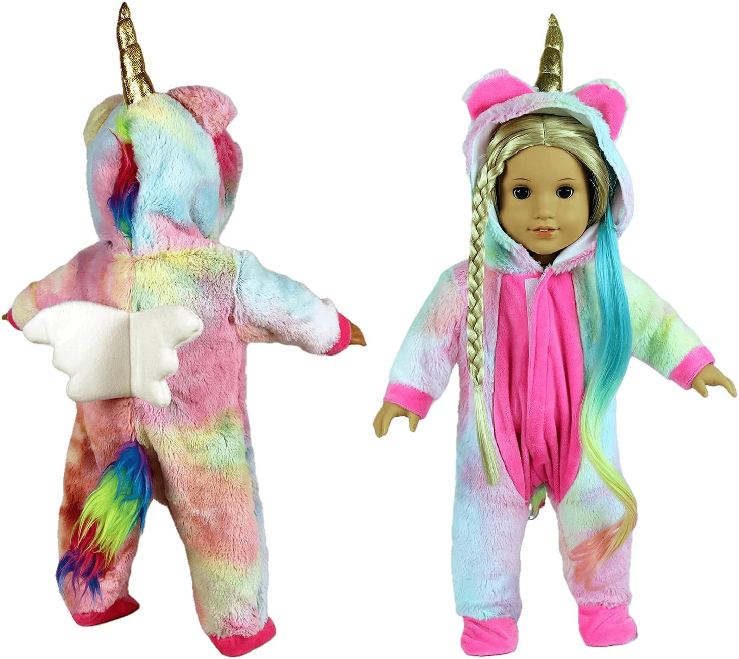 Fairy Wings Cute 18 inch Doll Clothes and Accessories Unicorn Doll Costume Onesie Pajamas Suitable for 18 inch American Girl Doll (Pastel)