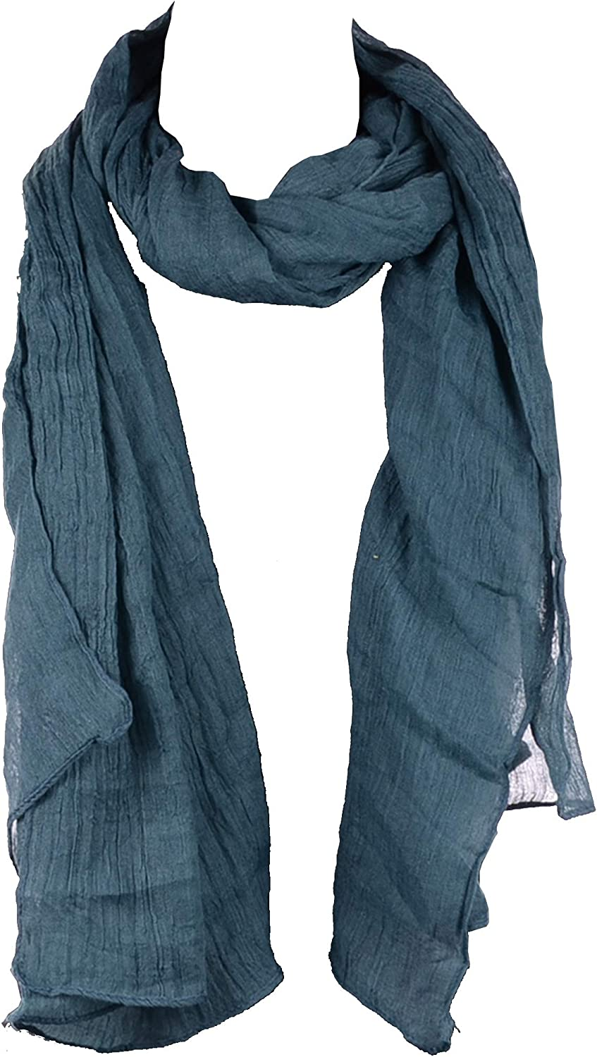 BYOS Womens Airy Crinkled Soft Lightweight Oversized Shawl Scarf in Solid Color