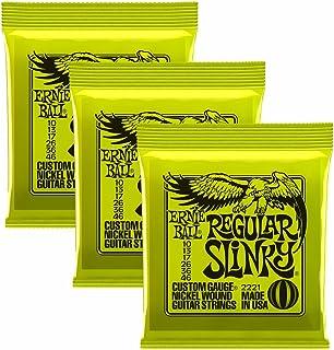 Ernie Ball Slinky 2221, 3 Cuerdas 0,010-0,046 Tamaño Regular para Guitarra Eléctrica (Paquete de 3).