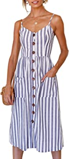 HAVANSIDY Summer Dresses for Women Backless Slimetti Midi Dress with Slim Fit and Pockets