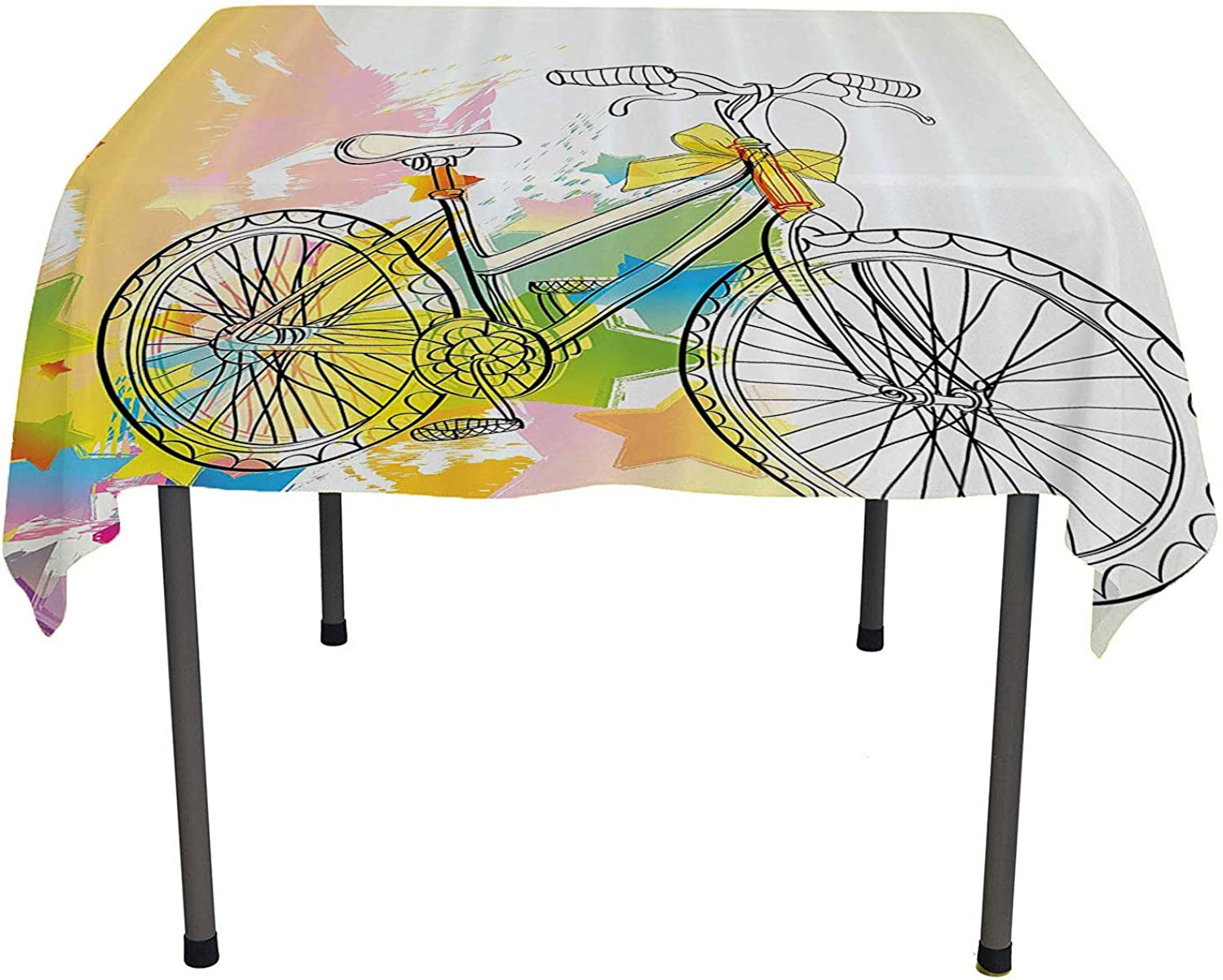 Sketchy Fabric Tablecloth Hands Drawn Image of A Bicycle Abstract colorful Pattern with Bow on a Bike Image Multicolor Outdoor Picnic Table Cloth Washable Spring Summer Party Picnic 50 by 80