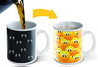 Heat Sensitive Mug | Color Changing Coffee Mug | Funny Coffee Mug| Funny Yellow Smiley Faces | Birthday Gift Idea For Him Or Her, Mothers Gift For Mom And Fathers Day Gift For Dad - Cute Mug