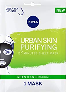 NIVEA, Face, Urban Skin Purifying Sheet Mask, serum infused with with Green Tea and Charcoal, 1 Mask