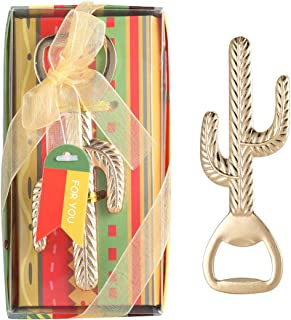 Yuokwer Mexican Party Favors for Guest Cactus Beer Bottle Opener, Cactus Llama Party Souvenir, Mexican Fiesta Wedding Baby Shower Party Gift Game Prize Keepsake(Gold) (Cactus Opener, 12)