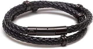 Best mens black leather personalised bracelet Reviews
