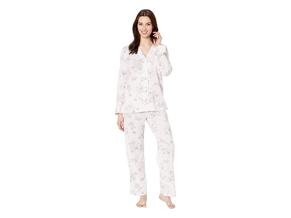LAUREN Ralph Lauren Knit Notch Collar Pajama Set (Pink Floral Print) Women