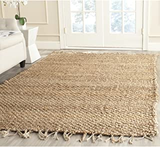Safavieh Natural Fiber Collection NF733A Handmade Farmhouse Fringe Premium Jute Area Rug, 4' x 6', Natural