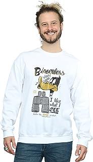 Looney Tunes Men's Daffy Duck Binoculars Sweatshirt XXX-Large White
