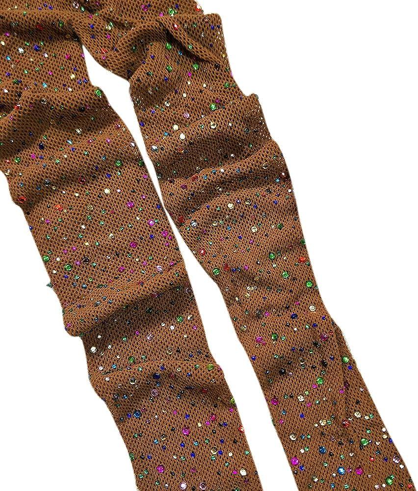 Eliffete Lady 2018 Sexy Sparkle Rhinestone Fishnet Stocking Pantyhose Long Tight