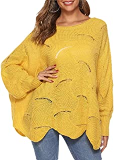Womens Solid Pullover Batwing Sleeve Loose Hollow Knit Sweater
