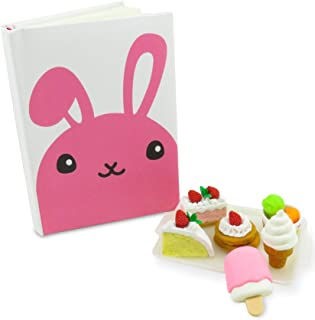 Kawaii Rabbit Bunny Pocket Notebook Journal Diary with (7) Dessert Erasers - Perfect 8 Piece Set