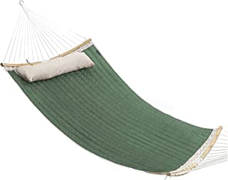 Portable Patio Watcher Fabric Hammock with CurvedBar Bamboo and Detachable Pillow, Double Hammock Perfect for Patio Yard