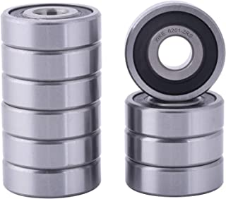 XiKe 10 Pcs 6201-2RS Double Rubber Seal Bearings 12x32x10mm, Pre-Lubricated and Stable Performance and Cost Effective, Deep Groove Ball Bearings.