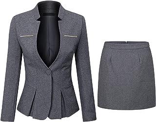 YYNUDA - Taladro para mujer, 2 piezas, Slim Fit One Button Blazer chaqueta de oficina trabajo pantalones costumes falda di...