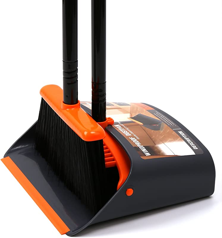 Dust Pan And Broom Dustpan Cleans Broom Combo With 52 Long Handle For Home Kitchen Room Office Lobby Floor Use Upright Stand Up Broom And Dustpan Set