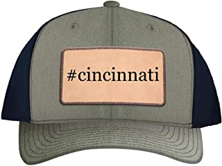 One Legging it Around #Cincinnati - Leather Hashtag Light Brown Patch Engraved Trucker Hat