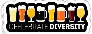 macknessfr Celebrate Diversity Craft Beer Drinking Alcohol - 4x3 Vinyl Stickers, Laptop Decal, Water Bottle Sticker (Set of 3)