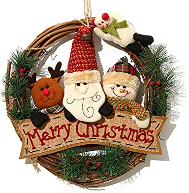 XONOR Christmas Wreath for Front Door - 14 inch/35cm Door Wreaths Christmas Home Door Hanger Wall Car Decoration (Reindeer Snowman Santa Claus)